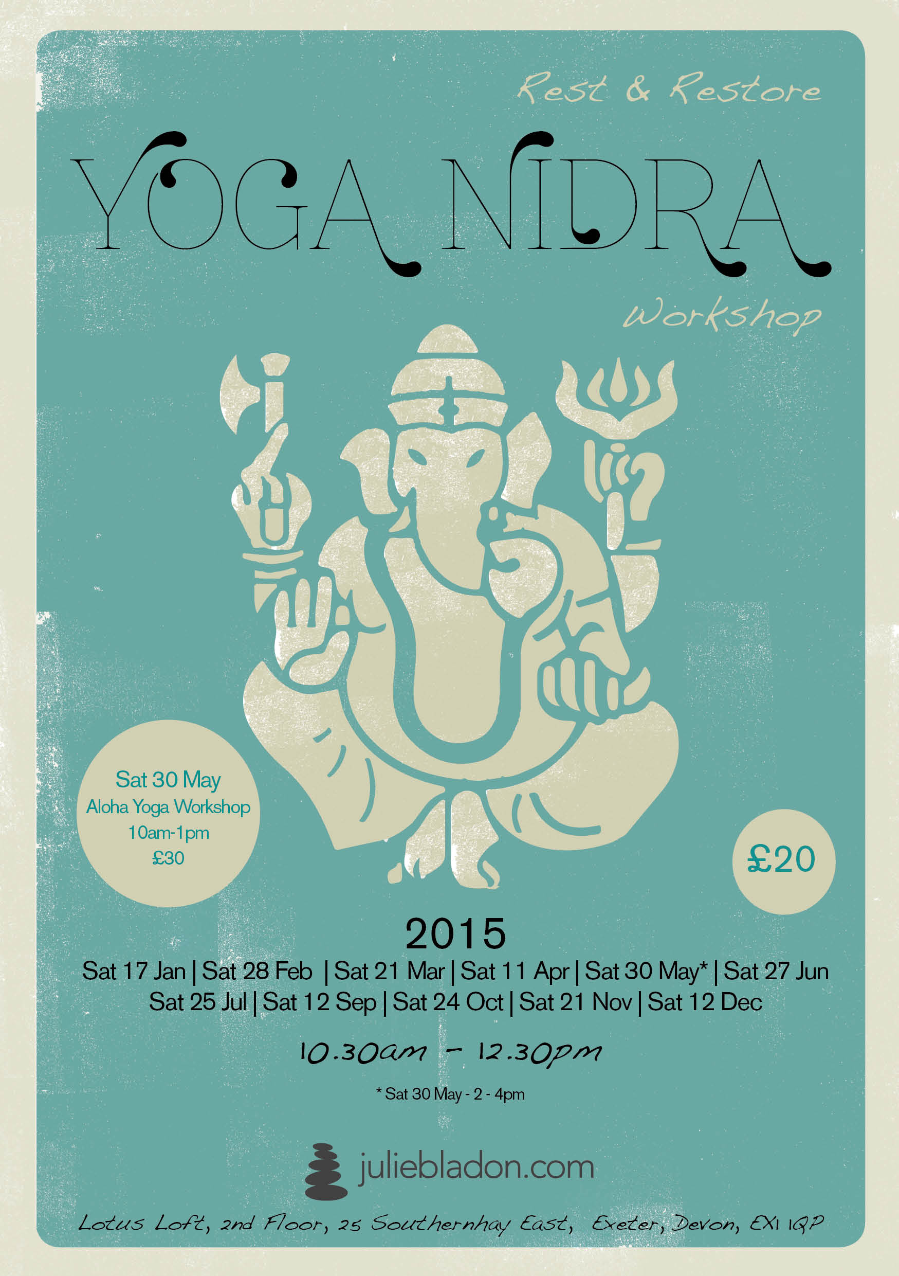 Juliebladon Yoga Nidra Workshop New 2015 Flyer