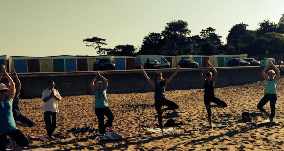yoga at beach tree aug